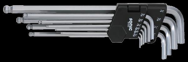 Sonic Winkelstiftschlüsselsatz, Inbus mit Kugel, extra lang (SAE), 10-tlg.