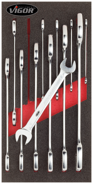 1/3 Weichschaumeinlage Doppel-Maulschlüssel-Satz V1683 ∙ Vierkant hohl 12,5 mm (1/2 Zoll)