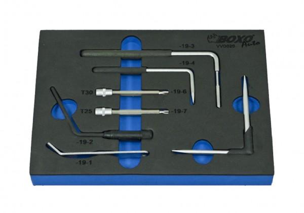 VVD020 - Boxo Werkzeugeinlage Sortiment zur De- und Montage von Airbags 7-tlg.
