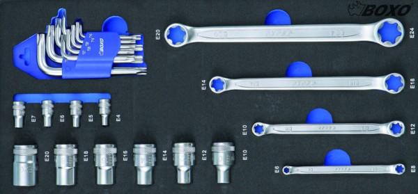 BX051 - Boxo Werkzeugeinlage TX Steckschlüssel & TX Ring- Schlüssel-Satz 23-tlg.