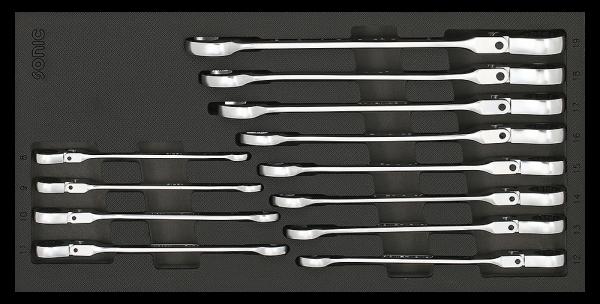 1/3 SFS Ring-Ratschen-Set, Knickkopf, 12-kant, 12-tlg.