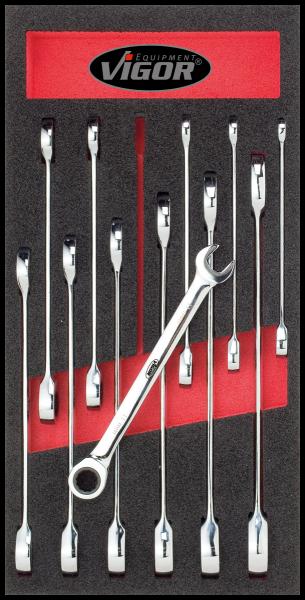 1/3 Weichschaumeinlage Ratschen-Ring-Maulschlüssel-Satz V1663 ∙ Vierkant hohl 12,5 mm (1/2 Zoll)