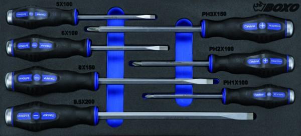 BX005 - Boxo Werkzeugeinlage Schraubendreher-Satz mit Schlaggriff