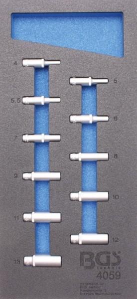BGS - Werkstattwageneinlage Steckschlüsseleinsätze 6,3 (1/4), 6-kant, tief, 4-13 mm, 11-tlg. (Art. 4