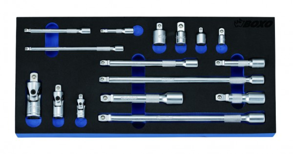 BX092 - Boxo Werkzeugeinlage Adapter- Kugelkopf Verlängerung, Kardangelenk-Satz 16-tlg.