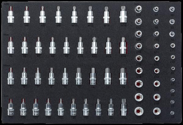 Weichschaum-Einlage 1/1 für E-TORX®, TORX®, XZN, Innen_Sechskant und Ribe Steckschlüssel-Einsätze V2